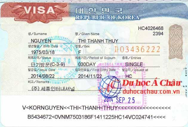 Visa du lịch Hàn Quốc Nguyễn Thị Thanh Thúy