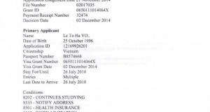 Visa du học Úc - Võ Lê Tố Hà